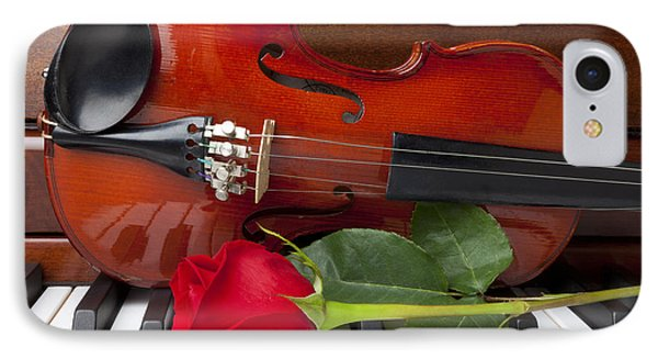 Violin With Rose On Piano IPhone Case by Garry Gay