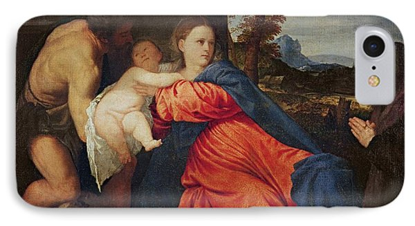 Virgin And Infant With Saint John The Baptist And Donor Phone Case by Titian