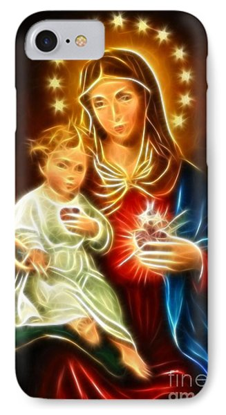 Virgin Mary And Baby Jesus Sacred Heart Phone Case by Pamela Johnson