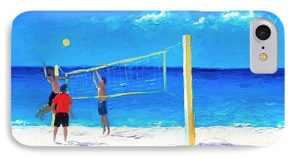 Volleyball Beach Painting IPhone Case by Jan Matson