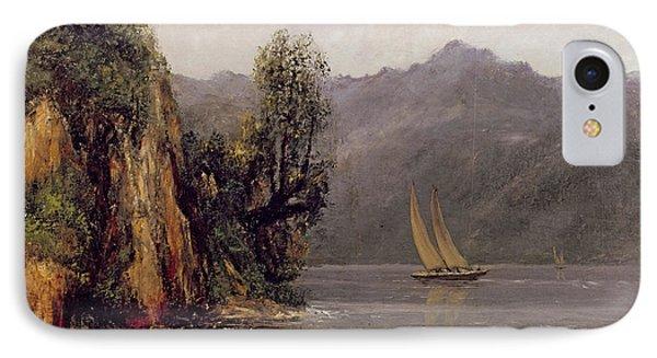 Vue Du Lac Leman IPhone Case by Gustave Courbet