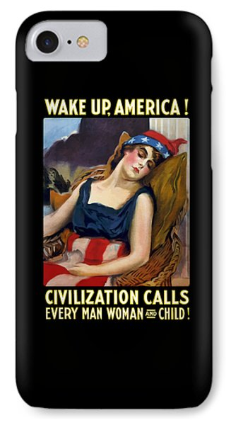 Wake Up America - Civilization Calls IPhone Case by War Is Hell Store