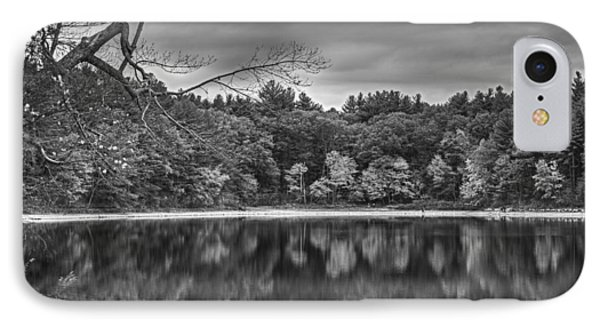 Walden Pond Fall Foliage Concord Ma Black And White IPhone Case by Toby McGuire