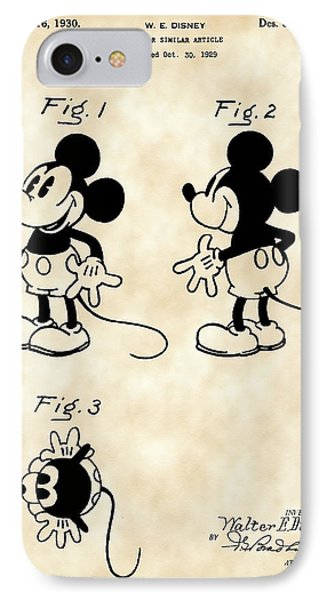 Walt Disney Mickey Mouse Patent 1929 - Vintage IPhone Case by Stephen Younts
