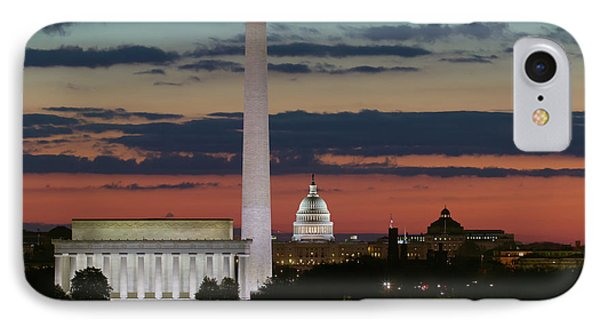 Washington Dc Landmarks At Sunrise I IPhone Case by Clarence Holmes