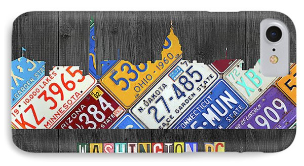 Washington Dc Skyline Recycled Vintage License Plate Art IPhone 7 Case by Design Turnpike