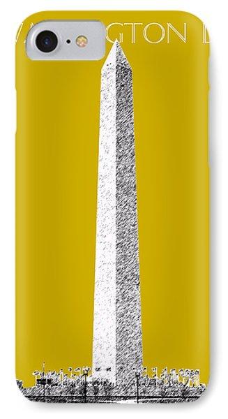 Washington Dc Skyline Washington Monument - Gold IPhone 7 Case by DB Artist