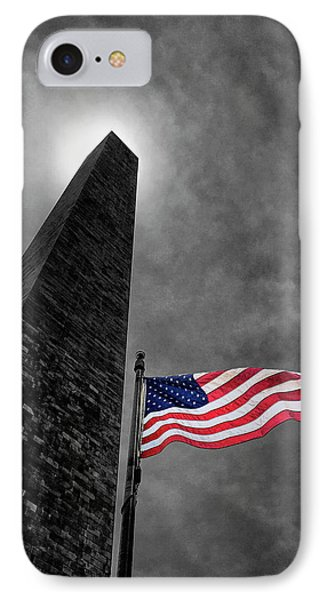 Washington Monument And The Stars And Stripes IPhone Case by Andrew Soundarajan