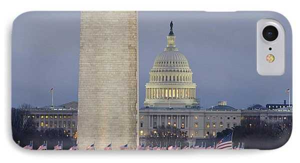 Washington Monument And United States Capitol Buildings - Washington Dc IPhone 7 Case by Brendan Reals