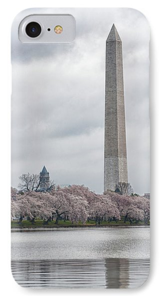 Washington Monument During Cherry Blossom Festival  IPhone Case by Sebastian Musial