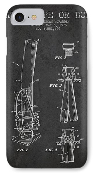 Water Pipe Or Bong Patent 1975 - Charcoal IPhone Case by Aged Pixel