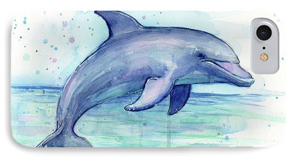 Watercolor Dolphin Painting - Facing Right IPhone 7 Case by Olga Shvartsur
