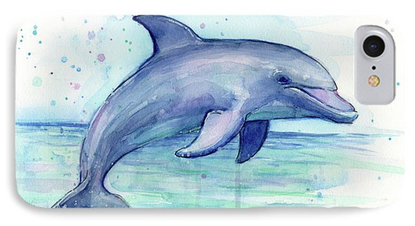 Watercolor Dolphin Painting - Facing Right IPhone Case by Olga Shvartsur