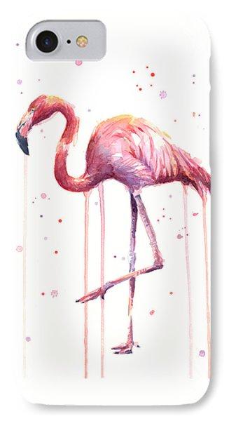 Watercolor Flamingo IPhone 7 Case by Olga Shvartsur