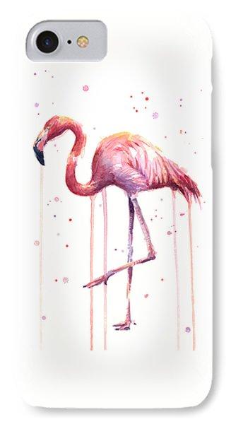 Watercolor Flamingo IPhone Case by Olga Shvartsur