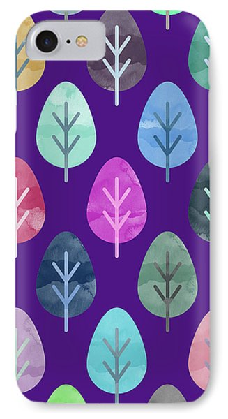 Watercolor Forest Pattern II IPhone Case by Amir Faysal