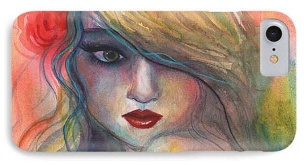 Watercolor Girl Portrait With Flower IPhone Case by Svetlana Novikova
