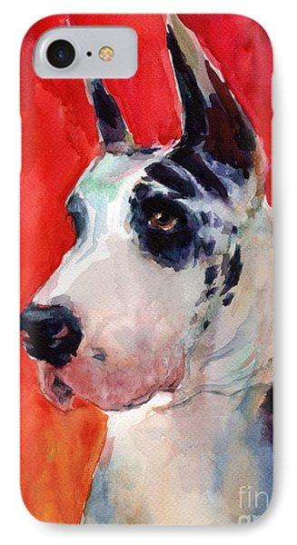 Watercolor Harlequin Great Dane Dog Portrait 2  IPhone Case by Svetlana Novikova