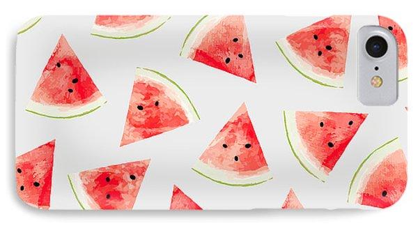 Watercolor Watermelon Pattern IPhone 7 Case by Uma Gokhale