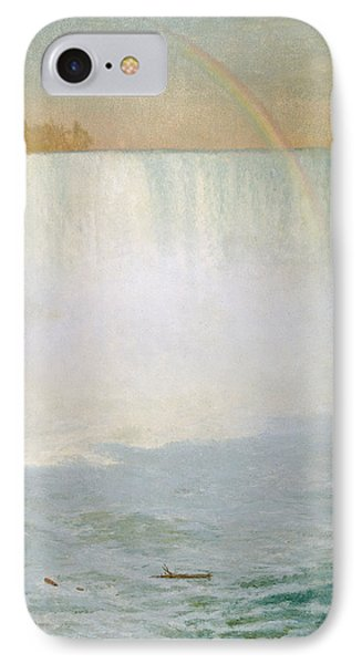 Waterfall And Rainbow At Niagara Falls Phone Case by Albert Bierstadt