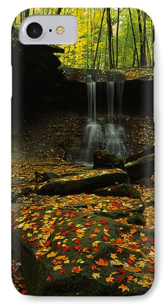Waterfall In A Forest, Blue Hen Falls IPhone Case by Panoramic Images