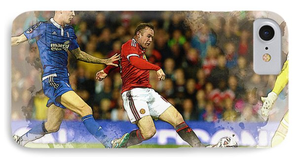 Wayne Rooney Of Manchester United Scores IPhone Case by Don Kuing