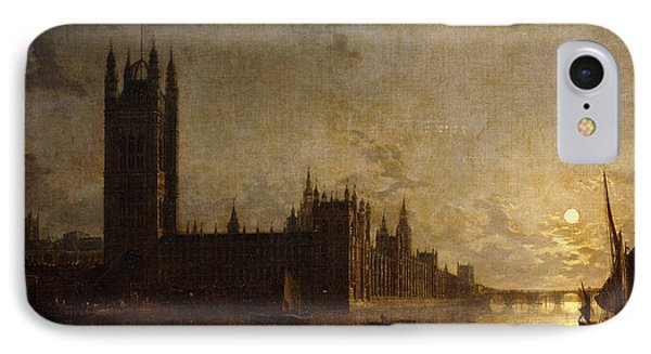 Westminster Abbey, The Houses Of Parliament With The Construction Of Westminster Bridge IPhone Case by Henry Pether