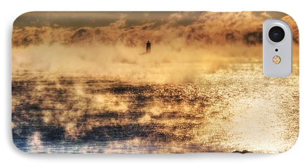Whaleback Lighthouse Golden Sunrise - Maine IPhone Case by Joann Vitali