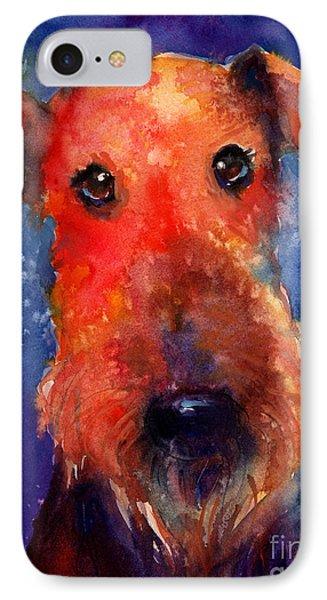 Whimsical Airedale Dog Painting IPhone Case by Svetlana Novikova