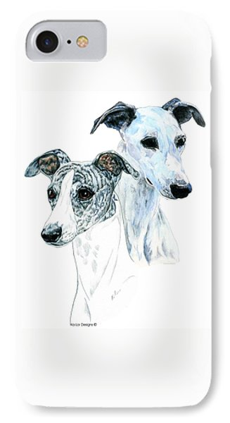 Whippet Pair IPhone Case by Kathleen Sepulveda