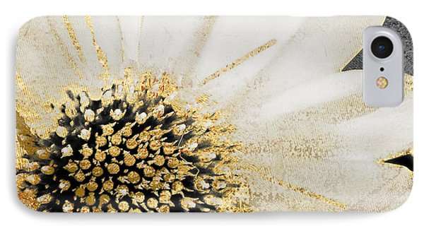 White And Gold Daisy IPhone Case by Mindy Sommers