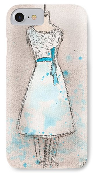White And Teal Dress Phone Case by Lauren Maurer