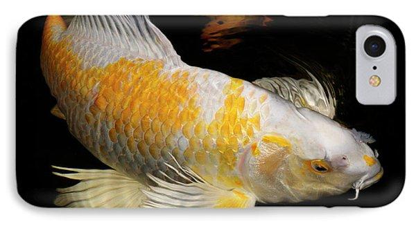 White And Yellow Yamabuki Hariwake Butterfly Koi Fish Swimming A IPhone Case by Reimar Gaertner