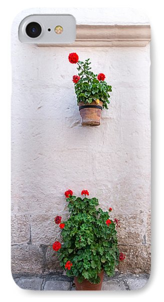 White Colonial Wall And Flowers IPhone Case by Jess Kraft