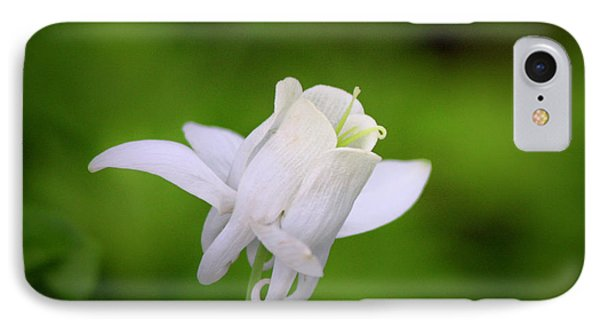 White Columbine Squared Phone Case by Teresa Mucha