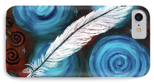 White Hawk Feather IPhone Case by Laura Iverson
