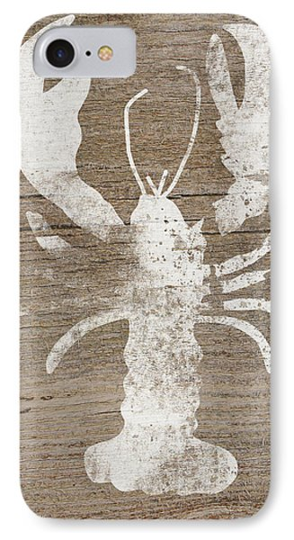 White Lobster On Wood- Art By Linda Woods IPhone Case by Linda Woods