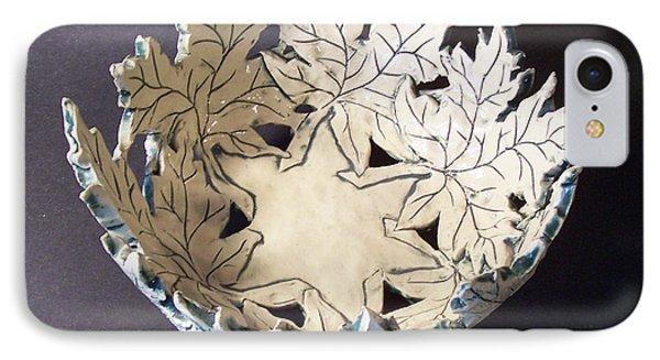 White Maple Leaf Bowl Phone Case by Carolyn Coffey Wallace