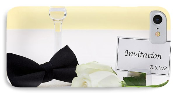 White Rose Bow Tie And Invitation. IPhone Case by Richard Thomas