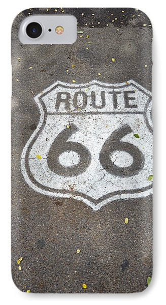 White Route 66 Sign Painted On Street IPhone Case by Gillham Studios