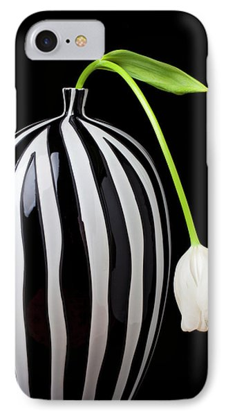 White Tulip In Striped Vase IPhone 7 Case by Garry Gay