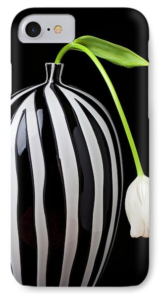 White Tulip In Striped Vase IPhone Case by Garry Gay