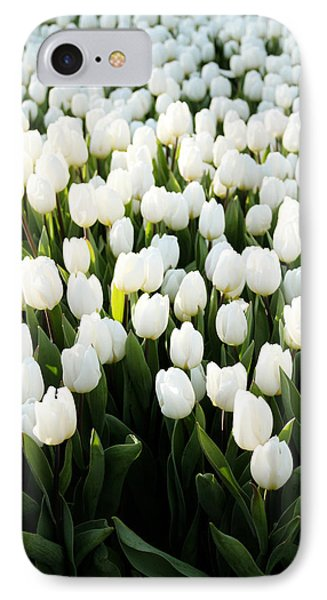 White Tulips In The Garden IPhone Case by Linda Woods