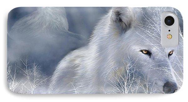 White Wolf Phone Case by Carol Cavalaris