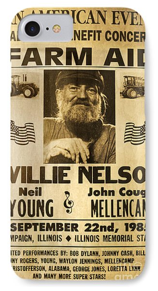 Willie Nelson Neil Young 1985 Farm Aid Poster IPhone 7 Case by John Stephens