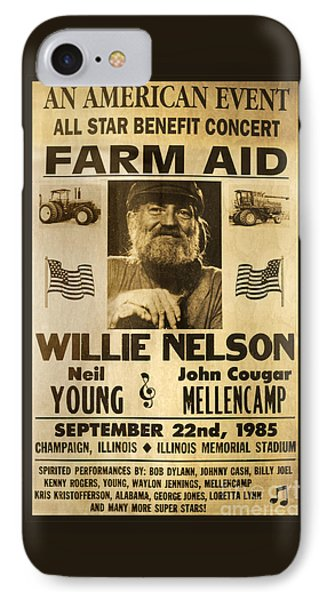 Willie Nelson Neil Young 1985 Farm Aid Poster IPhone Case by John Stephens