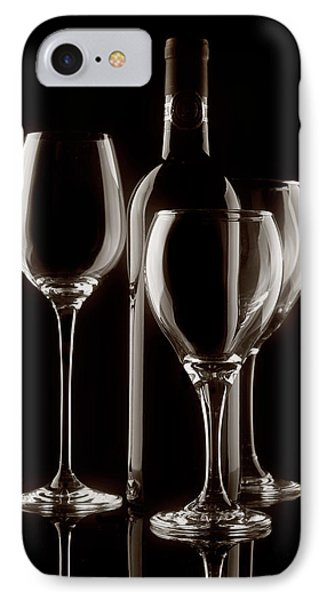 Wine Bottle And Wineglasses Silhouette II IPhone Case by Tom Mc Nemar