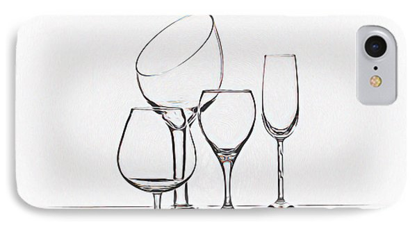 Wineglass Graphic IPhone Case by Tom Mc Nemar
