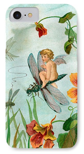Winged Fairy Riding A Dragonfly Near Nasturtium Flowers IPhone Case by Unknown