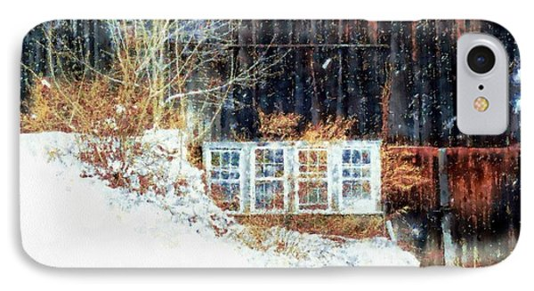 Winter Barn Window Views IPhone Case by Janine Riley